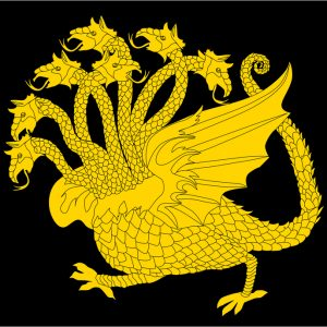 illustration with gold dragon with seven heads