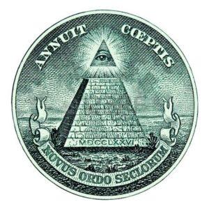 4585414 dollar pyramide auf weissem hintergrund makro
