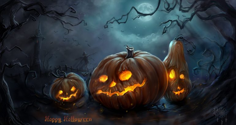 Art Halloween Night Pumpkins Moon