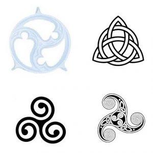 stilizzazioni del simbolo Triskell: in alto a sinistra disegno esoterico
