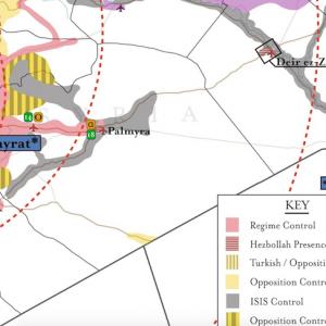 Una mappa dell'Institute for the Study of War che mostra la presenza di Hezbollah in Siria (la parte rossa tratteggiata, al confine con il Libano)