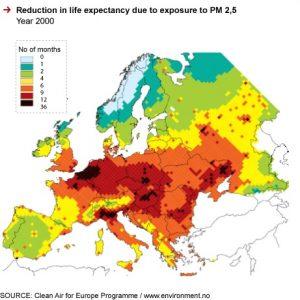 Riduzione dell'aspettativa di vita dovuta all'esposizione dei PM 2,5